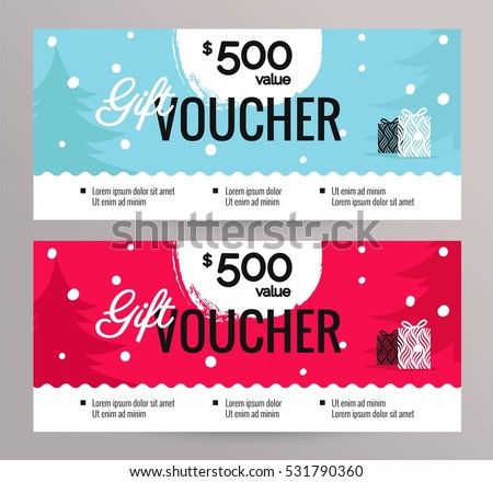 christmas gift voucher coupon discount gift のベクター画像素材