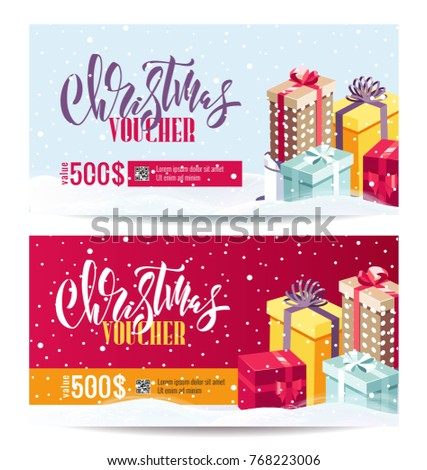christmas gift voucher coupon discount gift stock vector royalty