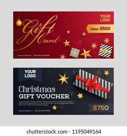 Christmas gift voucher or discount coupon layout with best discount offer and illustration of gift boxes and starts
