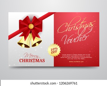 Christmas gift voucher, discount coupon, or horizontal template design with 10% discount value.
