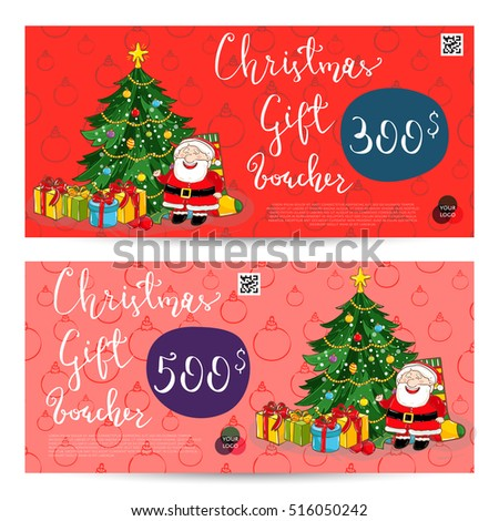 Christmas Gift Voucher Template Gift Coupon Stock Vector Royalty