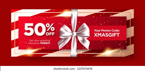 Christmas Gift Voucher or Xmas Gift Card Vector Design. Premium Coupon Layout for Online Shopping. Horizontal Marketing Flyer, Poster, Social Media Graphic. Restaurant Promo Card Elegant Template.