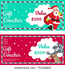 Christmas Gift Vouchers with Santa Clause, and Reindeer.