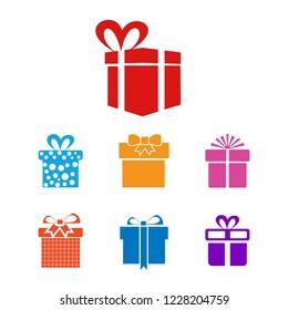 Christmas giftbox icon set vector