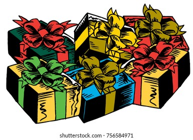 Christmas Gifts. An assortment of colorful gift boxes and bows. Each box is an isolated vector graphic suitable for ads, shirts, posters, banners and more.