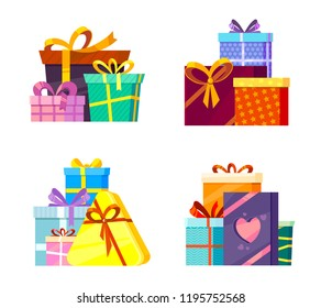 Christmas gifts collection. New year 2019 greetings colored packages with ribbons and bow cartoon vector pictures isolated