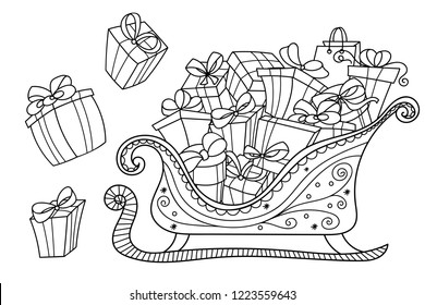 Christmas gifts on a Santa's sleigh. Lots of gift boxes in doodle style. Design for coloring, easy to change colors, gifts are separated.