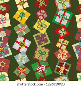 Christmas Gifts on striped green background
