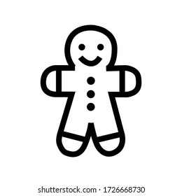 Christmas ginger cookie man dessert icon vector