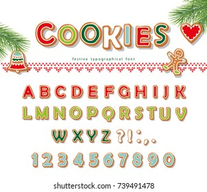 Christmas Gingerbread Cookie font. Biscuit letters and numbers. Vector EPS10