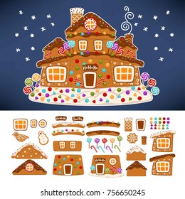 Christmas gingerbread cookie house constructor icons.