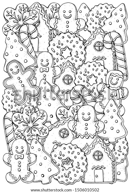 - Christmas Gingerbread Cookies Coloring Book Page Stock Vector (Royalty  Free) 1506010502