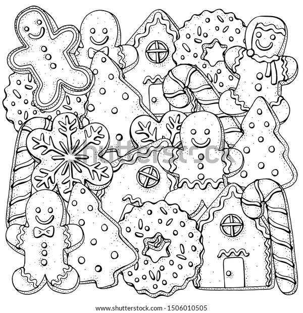 - Christmas Gingerbread Cookies Coloring Book Page Stock Vector (Royalty  Free) 1506010505