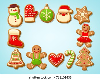 Christmas gingerbread cookies making a rectangular frame. Vector illustration.