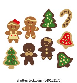 Christmas gingerbread cookies vector.