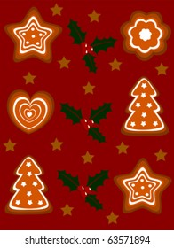 Christmas gingerbread cookies vector background