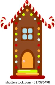 Christmas Gingerbread House. Cookies. Vector.