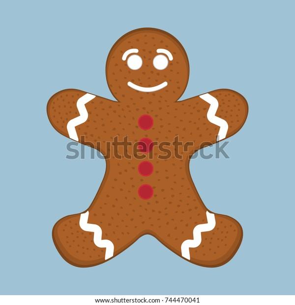 Christmas Gingerbread Man Xmas Icon Cartoon Stock Vector Royalty