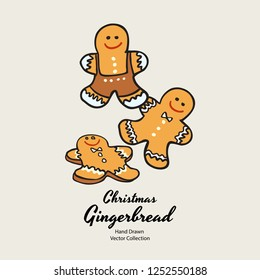 Christmas gingerbread men biscuits hand drawn vector illustration. Vintage traditional bake christmas marzipan glaze biscuits. Isolated vector ginger bread cookies. Christmas baking retro elements.