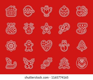 Christmas Gingerbread paper cut art line icon set. 3D sign kit of xmas cookie. Sweet Food linear pictograms includes christmas tree, house holly. Simple christmas gingerbread vector paper carved icons