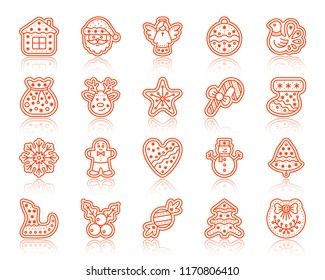 Christmas Gingerbread thin line icons set. Outline vector web sign kit of xmas cookie. Sweet Food linear icon santa bag, men, deer. Simple christmas gingerbread contour symbol with reflection isolated