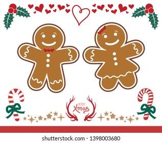 Christmas gingers cookies illustration set