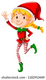 A christmas girl elf on white background illustration