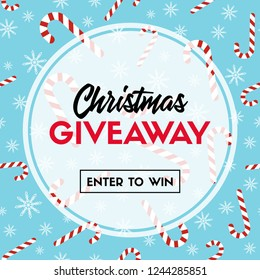 Christmas giveaway. Enter to win. Vector template with candy cane patterns for online holiday contest.