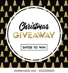 Christmas giveaway. Enter to win. Vector template with Christmas tree pattern for online holiday contest