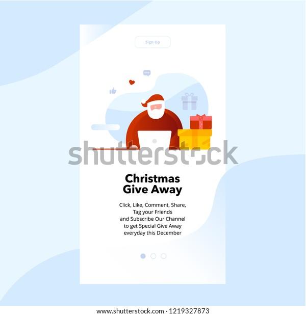 Christmas Giveaway Santa Flat Design Landing Stock Vector (Royalty
