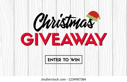 Christmas giveaway. Vector promo template for social media contest