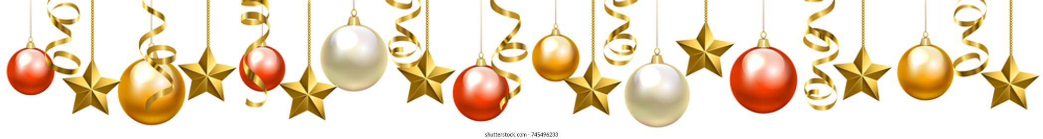 Christmas glass baubles and serpentine streamers, border isolated on white background