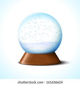 Christmas glass snow ball with snowflakes on white