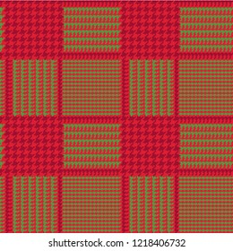 Christmas Glen Plaid Seamless Vector Pattern in Red and Green with Dark Red Overcheck Stripes. Prince of Wales Check. Trendy High Fashion Print. 8x8 Check Houndstooth. Pixel Perfect Tile Swatch Incl.
