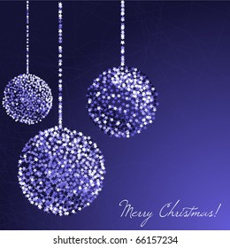 Christmas glitter balls on the blue background. Vector illustration
