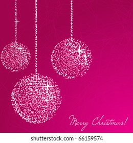 Christmas glitter balls on the pink background. Vector illustration.