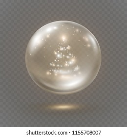 Christmas globe ball isolated on transparent background. Vector glass bubble with christmas tree lights, flares and glowing stars. Magic 3d crystal snowglobe template.