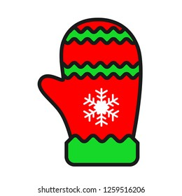 Christmas glove icon. Mitten colored flat. Mitten icon. Mitten glove linear icon. Santa glove vector sign. 2019 mitten glove symbol.