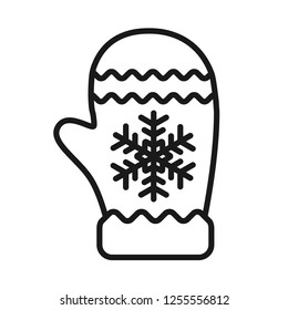Christmas glove icon. Mitten gloves linear icon. Mitten icon. 2019 Santa glove vector sign. Mitten colored flat symbol.