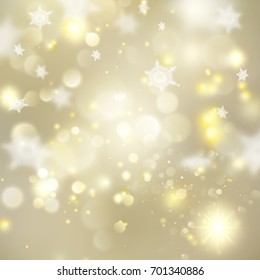 Christmas glowing Golden Template. Holiday lights. Gold New year Abstract Glitter Defocused Background With Blinking Stars and sparks. Blurred Bokeh. And also includes EPS 10 vector