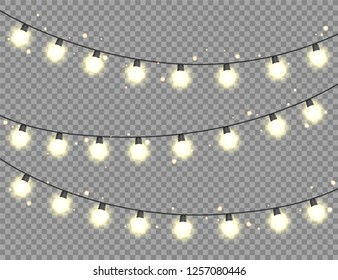 Christmas glowing lights. Garlands with colored bulbs. Xmas holidays. Christmas greeting card design element. New year,winter.