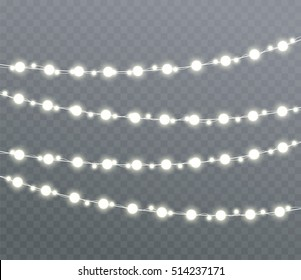 Christmas glowing lights, garlands, holiday decorations. Isolate