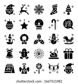 christmas glyph vector icons merry christmas season stylish design