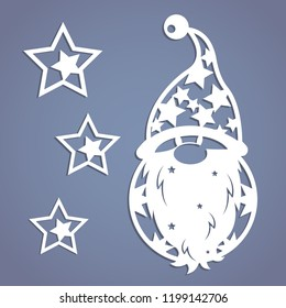 Christmas gnome. Stencil. Template. Image suitable for laser cutting, plotter cutting or printing.