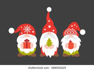 Christmas gnome vector. Cute scandinavian gnomes in santa hats in cartoon style. Greeting Christmas card with Scandinavian holiday characters isolated on dark background.