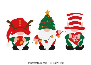Christmas Gnomes in holiday hats, scandinavian gnome with decoration in hands - sock, garland, snoflake, male nordic gnomes, vector Christmas decoration, traditional tomte, elf or dwarf for greetings