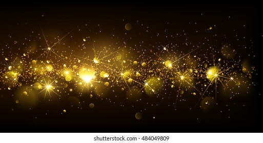 Christmas Gold Background with bokeh effect. Vector illustration