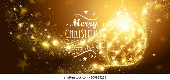 Christmas Gold Ball and flickering lights. Vector illustration