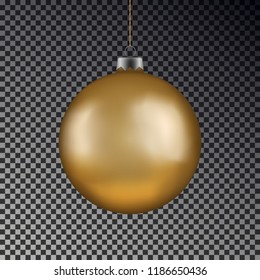 Christmas gold ball handing on string. Xmas vector bauble isolated on transparent background. New Year  ball decoration element. Vector illustration.