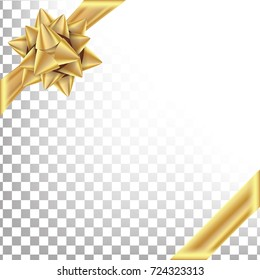Christmas Gold Bow Vector. Element For Decoration Present. Holiday Transparent  Background Illustration